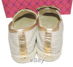Tory Burch Natural Linen Castaway Flat Loafer Espadrille Tropical Shoe 10.5