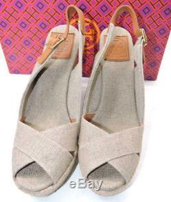 8bde1a18df4d75 Tory Burch Natural Linen Wedge Espadrille Sandal Slingback Shoe 7 Beller
