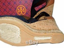 Tory Burch Navy Blue Cork Wedge Sandals Peep Toe Espadrilles Pumps Shoes 9.5