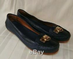 Tory Burch Navy Blue Leather Slip On Flat Shoes Womens Size 11 M US