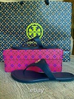 Tory Burch Navy Jolie Flat Thong / Tumbled Leather Size 8 (Style 48255)