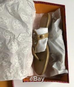 Tory Burch Nude Patent Leather Miller Logo Sandals Size 8 M New