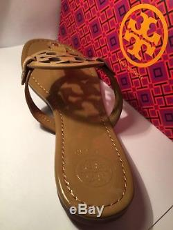 Tory Burch Nude Patent Leather Miller Logo Sandals Size 8M New