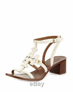 Tory Burch PHOEBE Sandals Cut Out Leather Logo Shoes Ankle Strap Shoes Sz 9