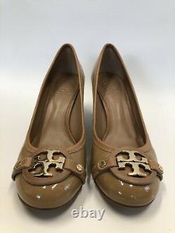 Tory Burch Patent Leather Aaden Mid Heel Pumps Heels Shoes Tan Brown Sz 8 $275