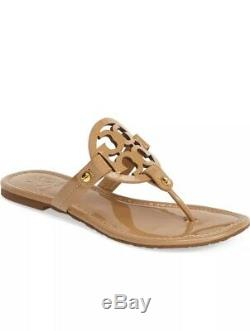 Tory Burch Patent Leather Miller Sandals in Sand, Sz 9
