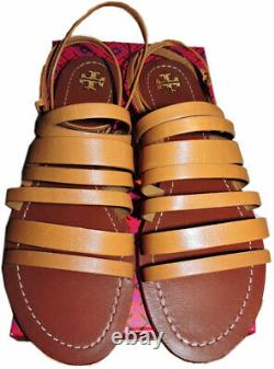 Tory Burch Patos Flat Strappy Sandals Slides Ankle Strap Shoes 10.5 Tan Leather