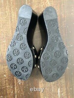 Tory Burch Patty Sz 6M Black Patent Leather 3 Wedge Heels Shoes Sandals EUC