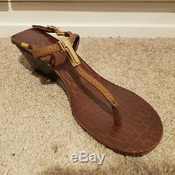 Tory Burch Pauline Brown Leather Demi Wedge Heels Size 7.5