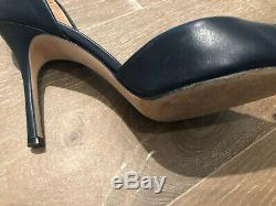 Tory Burch Penelope 85MM Cap Toe Pump Heels Size US 8.5 Ink Navy Perfect Black