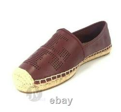 Tory Burch Perforated Logo Flat Espadrille Nappa Leather Flat Shoes