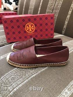 Tory Burch Perforated Logo Flat Espadrille Nappa Leather Flat Shoes 8.5