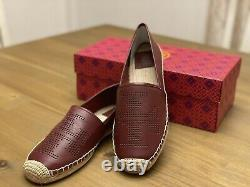 Tory Burch Perforated Logo Flat Espadrille Napppa Leather Flat Shoes Size 9.5