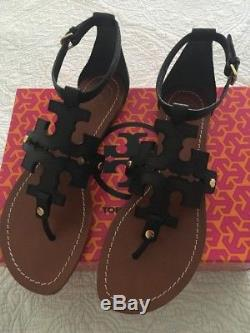 Tory Burch Phoebe Leather Flat Thong Sandals Black Women Size 8 New