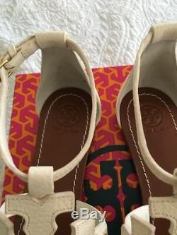 Tory Burch Phoebe Leather Flat Thong Sandals Ivory Women Size 9 New