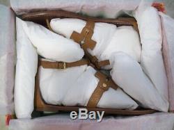 Tory Burch Phoebe Sandals Flat Thong Royal Tan Leathr Sz 8.5 New W Box FREE SHIP
