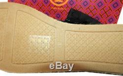 Tory Burch Poppy Black Canvas Espadrilles Flat Slip On Loafers Shoes Sz 9.5