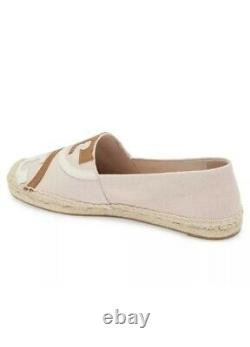 Tory Burch Poppy Espadrille Canvas Calf Leather Shell Pink 7 Shoes