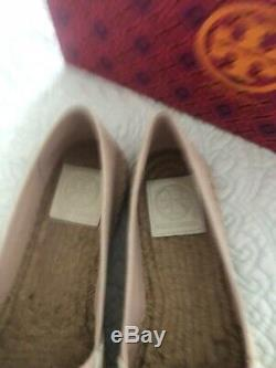 Tory Burch Poppy Flat Espadrille Canvas Leather Shell Pink Ivory Size 8 New