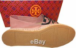 Tory Burch Poppy Pink Canvas Espadrilles Flat Slip On Loafers Shoes Sz 8