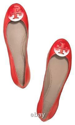 Tory Burch REVA Dip Dye Logo Ballet Ballerina Flat Shoe Red NIB $250