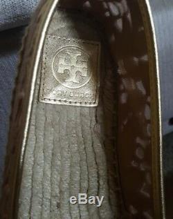Tory Burch RHEA ESPADRILLE Gold Metallic Choose Size 9.5 / 10 (New in Box)