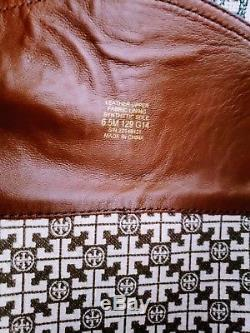 Tory Burch Red Brown Ankle Logo Zip Up Leather Knee High Riding Boot Size 6.5