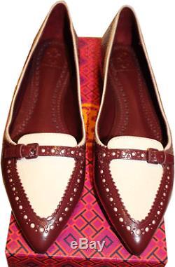 Tory Burch Red Darlene Ballet Flats Ballerina Pointy Toe Brogue Shoe 8.5