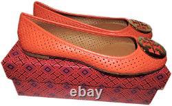 Tory Burch Reva Ballerina Flat Orange -Red Leather Ballet Shoe Gold Logo 9.5