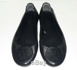 Tory Burch'Reva' Ballerina Flat Shoes Black Logo Size 6 M