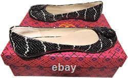 Tory Burch Reva Ballerina Flats Snake Print Leather Ballet Shoes Black 8.5