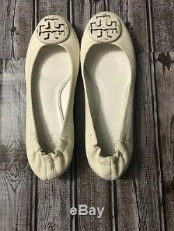 Tory Burch Reva white Flat Shoe Pebbled Leather Logo Sz 10 M NEW