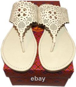 Tory Burch Roselle Laser-Cut Thongs Flats Sandals Ivory Flip Flop 10.5 Shoes