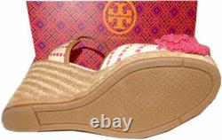 Tory Burch SHAW Wedge Sandals Pink Striped Espadrilles Pumps Shoe 7.5