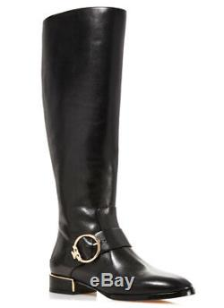 Tory Burch SOFIA Black Leather Riding Boots Flat Buckled Equestrian Booties 8.5