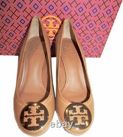 Tory Burch Sally 2 Wedge Pumps Royal Tan Leather Peep Toe Gold Logo Shoes 9.5