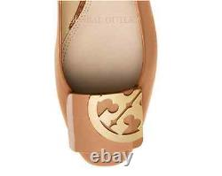 Tory Burch Sand Color Square Toe Shoes Ballet Classic Flats Patent Leather