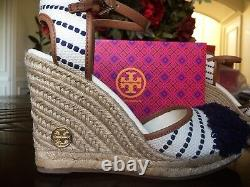 Tory Burch Shaw Striped Wedge Espadrille White/Navy Shoes New $250 size 10.5