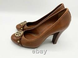 Tory Burch Shoes Brown Leather Women's Heels Wooden Heel Rounded Toe Size 8.5M