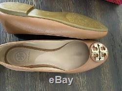 Tory Burch Shoes Claire Ballet Flats Royal Tan Leather Size 6.5 43394 Great Cond
