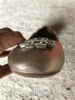 Tory Burch Shoes Melinda Ballet Flat Platinum Gold Leather Gold T-Logo Size 8.5