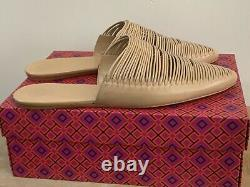 Tory Burch Sienna Flat Slides Mules Slip On Slippers Shoes In Natural Size Uk 8