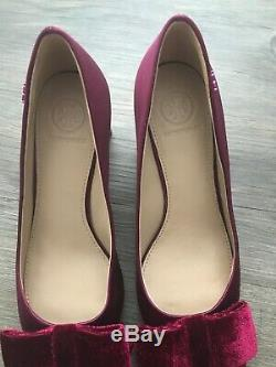 Tory Burch Silky Satin Velvet Bow Heels Pumps Shoes Size 6