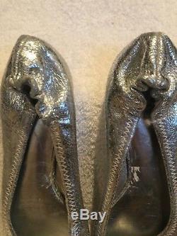 Tory Burch Silver Laila Metallic (Driver)Ballet Flats Size 7 1/2 M