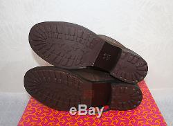 Tory Burch Simone Chocolate Brown Leather Bootie Size 8 Logo Ankle Boot $400