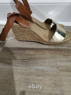 Tory Burch Size 10 M Bima 2 Spark Gold Metallic Wedge Espadrille Sandal Shoes