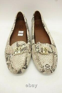 Tory Burch Snakeprint Leather Logo Casual Driving Flats Shoes Women's 8.5 M