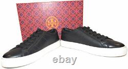 Tory Burch Sneakers Chace Leather Low-Top Sneaker Shoes Navy Blue Oxford Sz 8