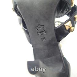 Tory Burch Strappy Sandal Heels Size 8 black with Gold Studs shoes leather open to