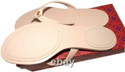 Tory Burch T Thong MANON Sandals Blush Leather Flat Shoes Flip Flops 10.5 Slides